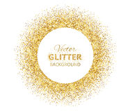 Festive background with golden glitter circle frame. Festive background with golden circle frame and space for text. Vector glitter decoration, golden dust Stock Photos