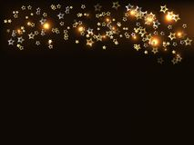 Festive background, golden stars and lights. Vector royalty free illustration