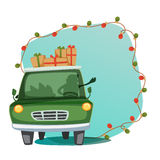 Festive background with green car full of gifts. Creative Green Car full of gifts, Lights decorated festive holiday background with space for your text, Elegant Stock Photo