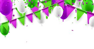 Background with flags and balloons. Festive background with green and lilac flags and balloons. Vector illustration Stock Images