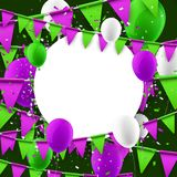 Round background with flags and balloons. Stock Photos