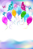Festive background for greeting card. Festive background with balloons and butterfly Stock Photos