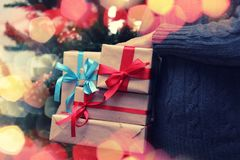 Gift stack hand christmas royalty free stock images