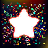 Festive background. For greeting text with colored stars and spiral ribbons stock illustration