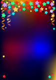 Festive background. For greeting text with colored stars and spiral ribbons royalty free illustration