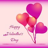 Festive background with heart air balloons on Valentines day. February 14 - day for all lovers Stock Photo