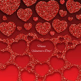 Festive background with heart made of glitters. Festive background with heart made of red glitters Stock Image
