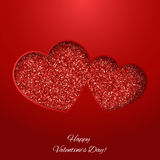 Festive background with heart made of glitters. Festive background with heart made of red glitters Stock Images