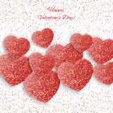 Festive background with heart made of glitters. Festive background with heart made of red glitters Stock Photography