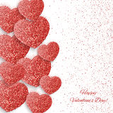 Festive background with heart made of glitters. Festive background with heart made of red glitters Royalty Free Stock Photos