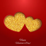 Festive background with heart made of glitters. Festive background with heart made of yellow glitters Royalty Free Stock Photography