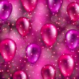 Festive background with hearts, bokeh. Abstract festive blurred background with flying balloons, bokeh, confetti for invitation, gift, greeting card, poster Stock Images
