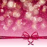 Festive background with hearts, bokeh. Elegant template for luxury invitation, gift, greeting card with bow, ribbon, place for text. Abstract festive bokeh Royalty Free Stock Photography
