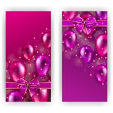 Festive background with hearts, bokeh. Set of elegant luxury invitation, gift, greeting card, poster, flyer, banner. Abstract festive blurred background with Royalty Free Stock Images