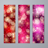 Festive background with hearts, bokeh Stock Photo