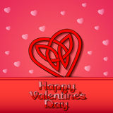 Festive background with hearts of Celtic weave on Valentine's D Stock Image