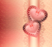 Festive background with hearts in love with bows and oriental floral ornaments Stock Photography
