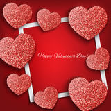 Festive background with hearts made of glitters Royalty Free Stock Photography