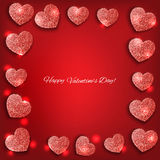 Festive background with hearts made of glitters Royalty Free Stock Images