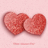 Festive background with hearts made of glitters Royalty Free Stock Image