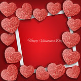 Festive background with hearts made of glitters Stock Images