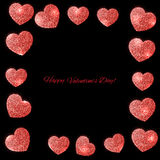 Festive background with hearts made of glitters Royalty Free Stock Photo