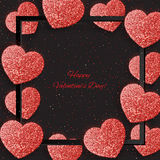 Festive background with hearts made of glitters Stock Photo
