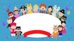 Festive background with kids in costumes around. Children in car. Nival costumes. Vector cartoon Royalty Free Stock Images