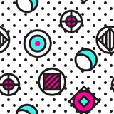 Festive Background in Memphis Style. Festive Seamless Pattern in Memphis Pop Art Style Colorful Decorative Wallpaper with Simple Bold Block, geometric shapes Stock Photos