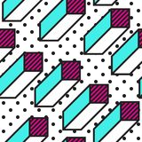 Festive Background in Memphis Style. Festive Seamless Pattern in Memphis Pop Art Style Colorful Decorative Wallpaper with Simple Bold Block, geometric shapes Royalty Free Stock Photos