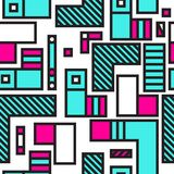Festive Background in Memphis Style. Festive Seamless Pattern in Memphis Pop Art Style Colorful Decorative Wallpaper with Simple Bold Block, geometric shapes Royalty Free Stock Photography
