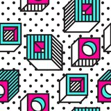 Festive Background in Memphis Style. Festive Seamless Pattern in Memphis Pop Art Style Colorful Decorative Wallpaper with Simple Bold Block, geometric shapes Stock Photo