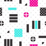 Festive Background in Memphis Style. Festive Seamless Pattern in Memphis Pop Art Style Colorful Decorative Wallpaper with Simple Bold Block, geometric shapes Stock Images