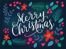 Festive background with Merry Christmas Lettering Royalty Free Stock Image