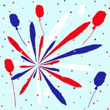 Festive background in national colors USA red white blue. Strips and stars, fireworks Great idea for decorating the holiday on Jul. Festive background in Stock Images