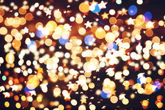 Festive Background With Natural Bokeh And Bright Golden Lights. Vintage Magic Background With Color Royalty Free Stock Photo