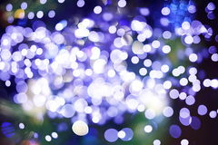 Festive Background With Natural Bokeh And Bright Golden Lights. Vintage Magic Background With Color Stock Photo