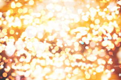 Festive Background With Natural Bokeh And Bright Golden Lights. Vintage Magic Background With Color Stock Photos