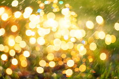 Festive Background With Natural Bokeh And Bright Golden Lights. Vintage Magic Background With Color Royalty Free Stock Photos