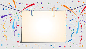 Festive background. Paper sheet with clips on a festive background. Eps 10 Stock Photos