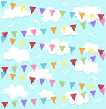 Festive background. Party, festive background with colorful flags Royalty Free Stock Images