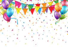 Festive background with party flag, balloon, confetti, and streamer Royalty Free Stock Photography