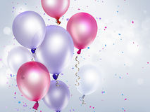 Festive background. With pink and purple balloons Stock Photo