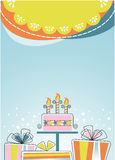 Festive background postcard. Celebration banner cake boxes with gifts Stock Photos