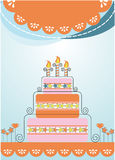 Festive background postcard. Celebration banner cake boxes with gifts Stock Photography
