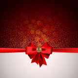 Festive background. With red bow for greeting text Royalty Free Stock Images