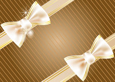 Festive background with ribbon. In gold and brown Stock Photo
