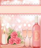 Festive background with rose,. Illustration festive background with rose, pearl candle and goblet Stock Photos