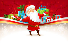 Festive background with Santa Claus. With space for text Stock Images