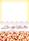 Festive background with scattering of hearts and greeting for Valentine's day. Festive background with scattering of hearts and greeting on lace for Valentine's Royalty Free Stock Image